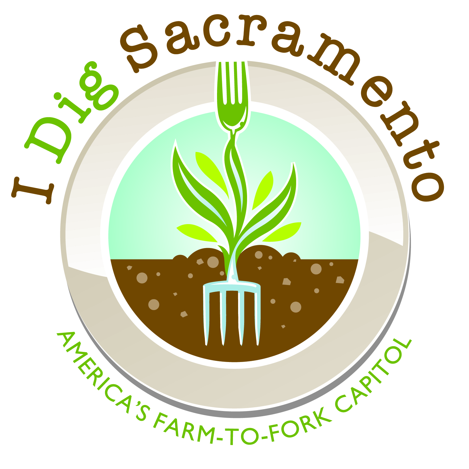 "Nelson's final ""I Dig Sacramento, America's Farm-to-Fork Capital"" design"
