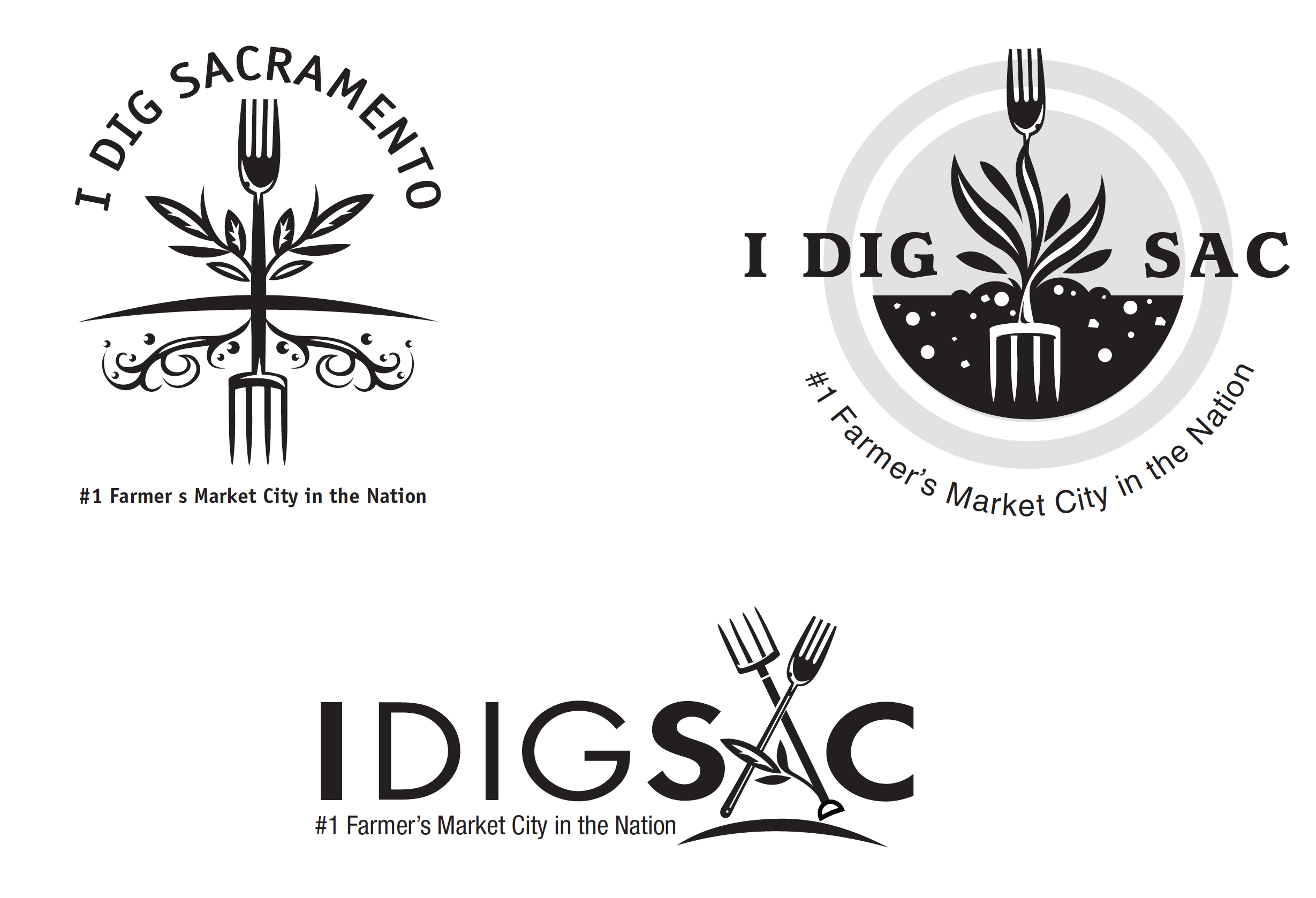 "A sampling of some of the first ideas for a ""Farm to Fork"" logo"